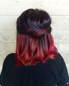 #MatrixColor Formula: Pre-lighten section using Light Master & 30V  #MatrixUnderlights: Top section: Colorgraphics lacquers purple scalp to ends.   Bottom section: alternate 3 formulas: Colorgraphics lacquers magenta, 2oz orange & ½ oz magenta, yellow from scalp to ends.