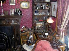 Sherlock Holmes Laboratory at the Sherlock Holmes Museum 221 B Baker St., London.