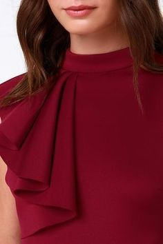 We are beyond excited to present to you the Positively Frilled Wine Red Peplum Dress! Sleek poly-spandex stretch knit dress has a ruffled accent and peplum skirt. Neckline Designs, Kurti Neck Designs, Dress Neck Designs, Blouse Designs, Red Peplum Dresses, Fashion Dresses, Peplum Gown, Bandage Dresses, Fashion Sets