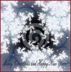 Merry Christmas and happy new year wishes on cosmic background with stars and snow flakes.