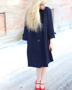 Navy Bow-Sleeved Mod Coat | Vintage 1960s | Upon A Find