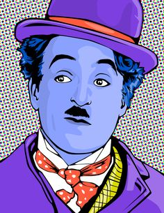 Purple Charlie Chaplin pop art by colorium