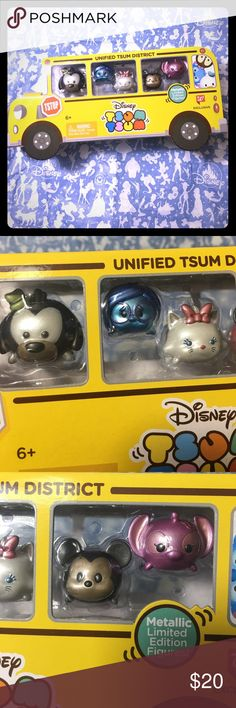 Disney TSUM TSUM collector edition set Disney Tsum Tsum Metallic 5 piece collection School Bus set Walgreens Exclusive! Brand New, would be an awesome Christmas gift ❤️ Disney TSUM TSUM Accessories