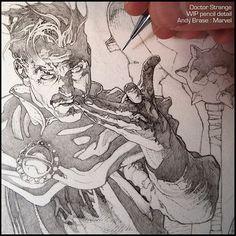 Doctor Strange: New Cover art for Marvel |  WIP pencil detail  #andybrase #pencil #drawing #wip #doctorstrange #marvel #comics #coverart #sorcerersupreme #darkfantasy #magic