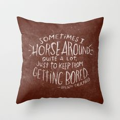 HOLDEN CAULFIELD Throw Pillow by Josh LaFayette - $20.00