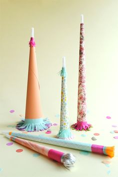 Pretty Paper Party Horns DIY | Oh Happy Day! Fun party craft!