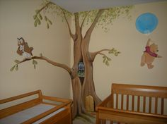 Winnie The Pooh Wall Art rabbit-in-party-hat-rocking-chair-log-fire-twig-frame-mural