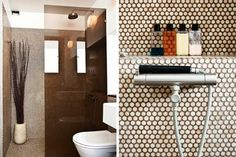 i've never thought of white tile with brown grout...i kinda like.