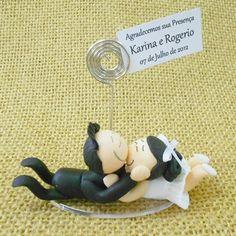 Lembrancinha de Casamento Porta Recado Noivinhos de #Biscuit com tag personalizada grátis! Apenas $6.90