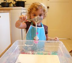 DIY Gooey cornstarch and water, aka Oobleck. This stuff is endlessly fascinating to kids.
