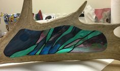 Moose antler with northern lights in stained glass