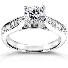 1 1/6 CT TW Lab-Grown Diamond and Sapphire 14K Gold Solitaire Engagement Ring , IGI Certified