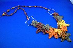 Falling Leaves Micro-Macrame by BeadArtistrybyDiana on Etsy
