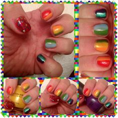Sinful Colors- Cross My Heart  Sinful Colors- Let's Meet  WetnWild- Sunny Side Up  NYC- High Line Green  Sinful Colors- Cinderella  Revlon- Ocean Breeze  Sinful Colors- Amethyst  Hit Polish- Treasured