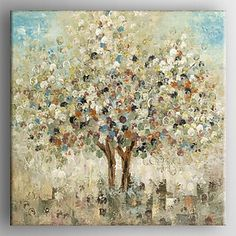 Oil Painting Abstract Landscape Tree Hand Painted Canvas with Stretched Framed…