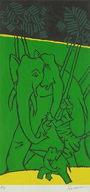 Maqbool Fida Husain - Folklore Kerala - VI @ Serigraphs III: M F Husain | StoryLTD.com I #Indianart #MFHusain #Modern art