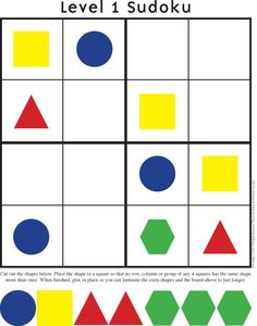 Color Sudoku with pattern or attribute blocks. Great logic intro prior to sudoku with content such as fractions. Math Games, Math Activities, Student Games, Brain Games, Sudoku Puzzles, Printable Puzzles, Free Printable, Kindergarten Readiness, Homeschool Math