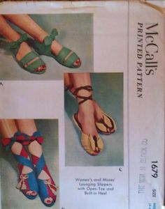 McCall's 1679 Lounging Slippers with Open-Toe and Built-in Heel (shoe pattern) Mccalls Patterns, Dress Sewing Patterns, Vintage Sewing Patterns, Clothing Patterns, Vintage Love, Vintage Shoes, Vintage Outfits, Vintage Fashion, 1940s Shoes
