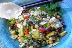 Marinated Chickpea and Artichoke Salad with Feta. Photo by JustJanS