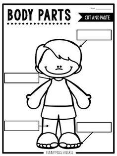 Body Parts Cut and Paste Freebie! Great for fine motor! #freebie #finemotor #teacherspayteachers #bodyparts #science #cutandpaste #worksheets #noprep #prek #pk #preschool #toddlers #homeschool