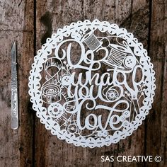 Papercut Template 'Do What You Love' Sewing Themed Printable PDF Template Cut Your Own Papercut by Samantha's Papercuts