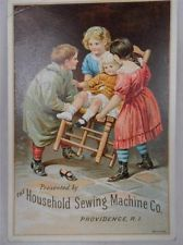 HOUSEHOLD Sewing Machine Girl in Chair Lost Shoe PROVIDENCE R.I. Trade Card