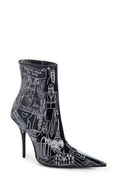 Buy BALENCIAGA Print Pointy Toe Bootie for shopping. New BALENCIAGA Shoes. [$1250] SKU GYVD48298SDEU52104
