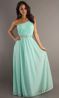 Light Aqua Column One Shoulder Surplice Bodice Jewel Waistband Chiffon Floor Length Skirt Evening Dresses/Prom Dresses/Homecoming Dresses/Formal Dresses prom0576