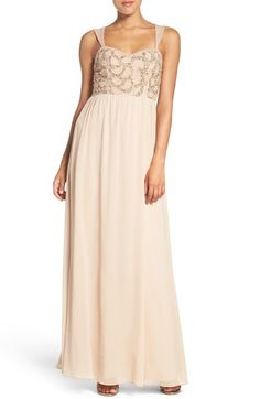 Adrianna Papell Beaded Bodice V-Neck Chiffon Gown available at #Nordstrom
