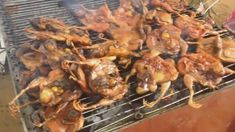 Asian Street Food, Tasty Street Food, Grilled salty fish, roasted chicke...