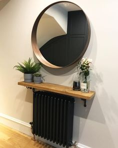 Narrow console table with hairpin legs, wooden rustic hallway table. - New ideas Black Hallway, Hallway Shelf, Hallway Mirror, Wood Mirror, Rustic Hallway Table, Hallway Tables, Small Hallway Decorating, Radiator Shelf, Rustic Wooden Shelves