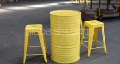Features Oil Drum and Tolix Stools