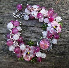 Floral women quartz  lampwork wrist watch Margaret от FlowerWatch