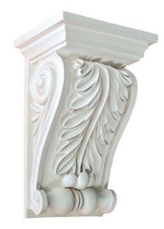Corbel Acanthus leaf 9 Inch Primed White bracket for wall shelf ceiling molding Decorative Corbels, Decorative Objects, Wooden Corbels, Stair Brackets, Columns For Sale, Copper Ceiling, Ceiling Medallions, Wall Shelves, Hand Carved