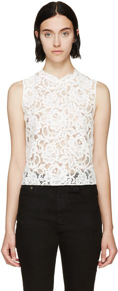 Saint Laurent White Lace Top