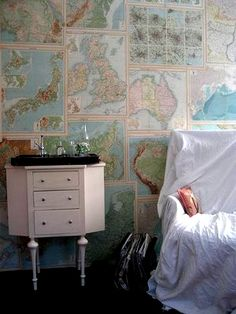 Maps for wallpaper I'm in live with this idea. I will have a map wall one day.