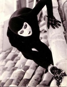 "French silent film actress Musidora as thief Irma vep in ""Les vampires"" (1915)"