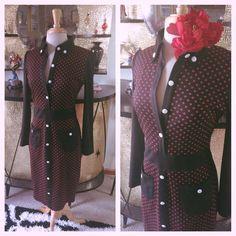 Retro Wiggle Dress Polka Dot Black Red M L Pin Up Rockabilly 1940s 40s 50s | eBay