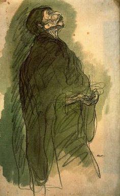 """""""Mendigo ciego, 1906"""". Lápiz Conté y acuarela. 48 x 29,5 cms. Gabinete de Dibujos y Grabados del MNAC, Barcelona. España"""