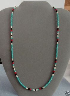 Turquoise-Red-Black-Mens-Wom-Necklace-Native-American