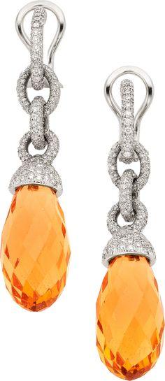 Beryl, Diamond, Platinum Earrings, Tiffany & Co. The earrings feature yellow beryl briolette measuring 20.00 x 10.50 mm, enhanced by full-cu...