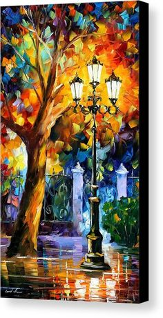 Romantic Aura - Palette Knife Oil Painting On Canvas By Leonid Afremov Canvas Print by Leonid Afremov.  All canvas prints are professionally printed, assembled, and shipped within 3 - 4 business days and delivered ready-to-hang on your wall. Choose from multiple print sizes, border colors, and canvas materials.