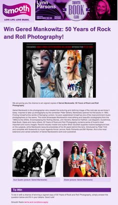 Smooth FM feature Gered Mankowitz: 50 Years of Rock and Roll Photography on the Book Club and run a competition online