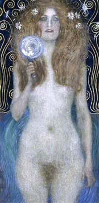 """The Austrian Theatre Museum presents rarely shown painting """"Nuda Veritas"""" (""""naked truth"""") by Gustav Klimt."""
