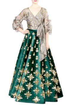 2b09f9f644 Dark Green Velvet Skirt With Wrap Around Top