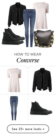 """Untitled #3617"" by evalentina92 on Polyvore featuring Givenchy, LE3NO, 7 For All Mankind and Converse"