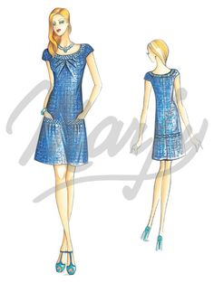 Fabric required about mt 1 20 wide 1 40 Available in sizes 42 44 46 Trendy flared dress with round neckline embellished with sequined edging and soft pin-tucks a motif repeated at the pockets Suggested fabric double jersey or soft patterned wool