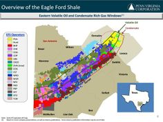 With 79,500 net acres and more than 1,100 future drilling locations, Penn Virginia has built a strong position in the fast-growing shale oil play. As the following slide shows, the company's acreage position is right in the middle of the oil and condensate-rich windows of the play.