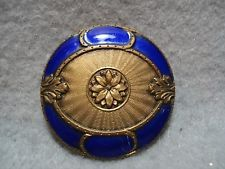 Cobalt ENAMEL Picture Button-FLOWER Center - Gotta See This One ! ! !