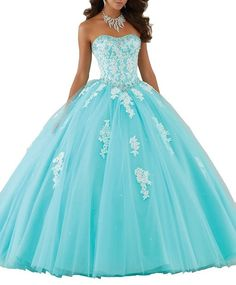 Aisha Womens' Glitz Beading Vestidos 15 Ball Gown Sweet 16 Quinceanera Dress 14 US Turquoise